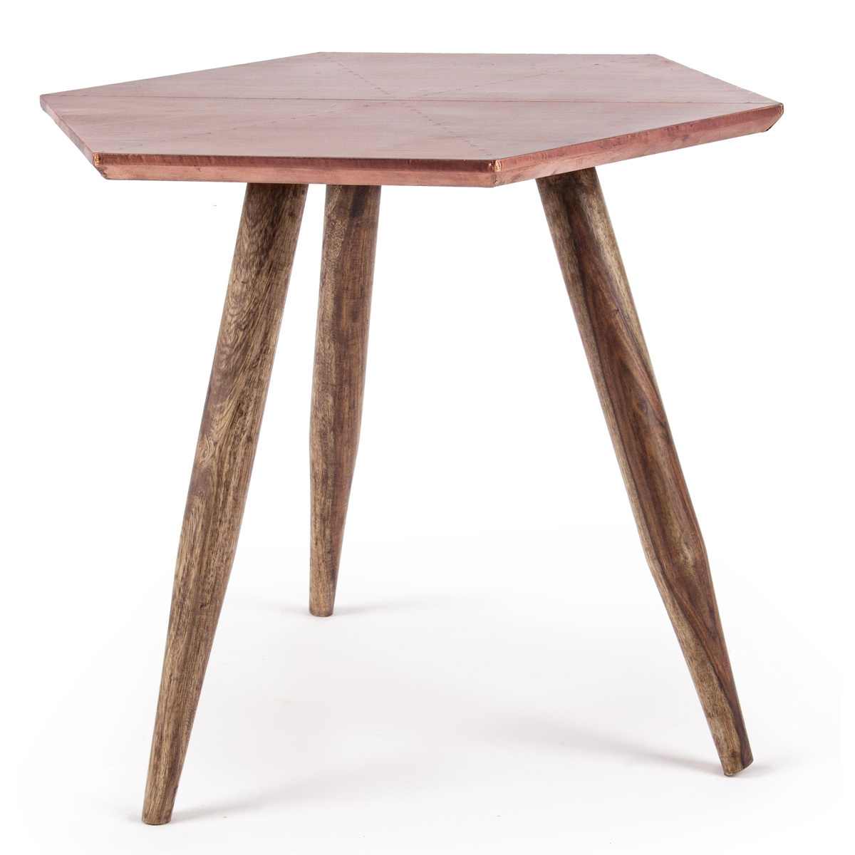 Photos 1: Bizzotto Wooden table with copper top 0745457
