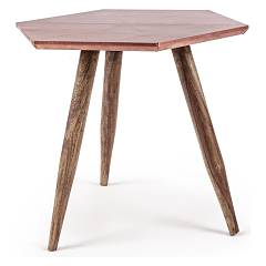 Bizzotto 0745457 Wooden table with copper top Gaspard