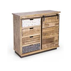 Bizzotto 0745461 Madia in wood with 1 door and 4 drawers Tudor