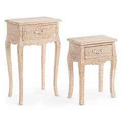Bizzotto 0745652 Set 2 wooden tables Charlotte