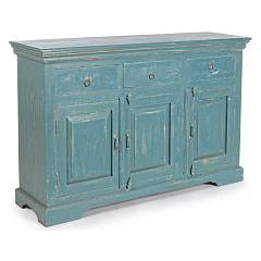 sale Sideboard In Wood With 3 Doors And 3 Drawers - Blue Avio 0745672 - Ania