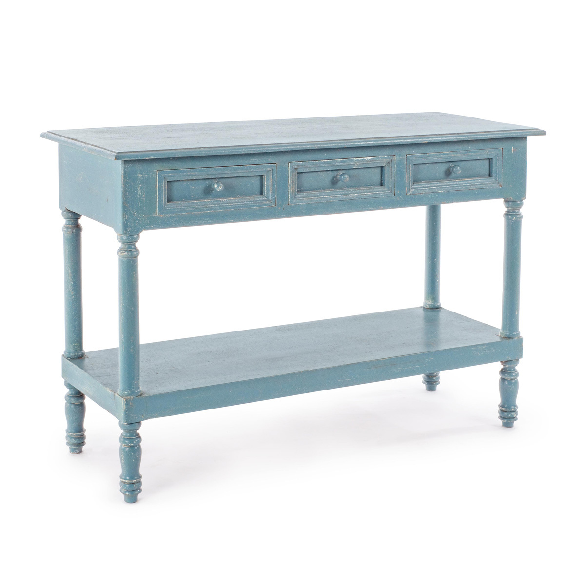 Photos 1: Bizzotto Fixed wood console l.120 x 45 - blue avio with 3 drawers 0745675