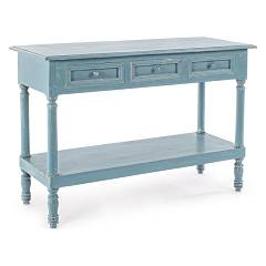 Bizzotto 0745675 Fixed wood console l.120 x 45 - blue avio with 3 drawers Ania