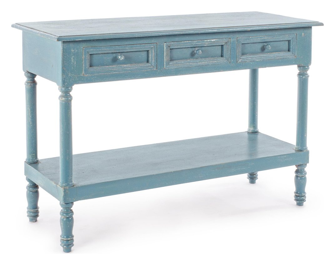 Photos 1: Bizzotto 0745675 Ania Fixed wood console l.120 x 45 - blue avio with 3 drawers