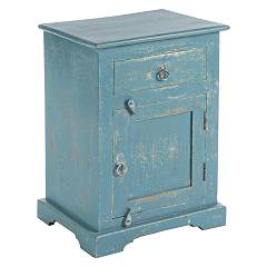 sale Bizzotto 0745676 - Ania Wooden Bedside Table 1 Door And 1 Drawer - Blue Avio