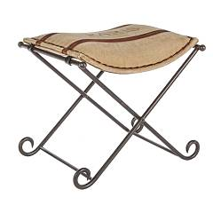 Bizzotto 0746067 Stool in metal and fabric Sanpark Line