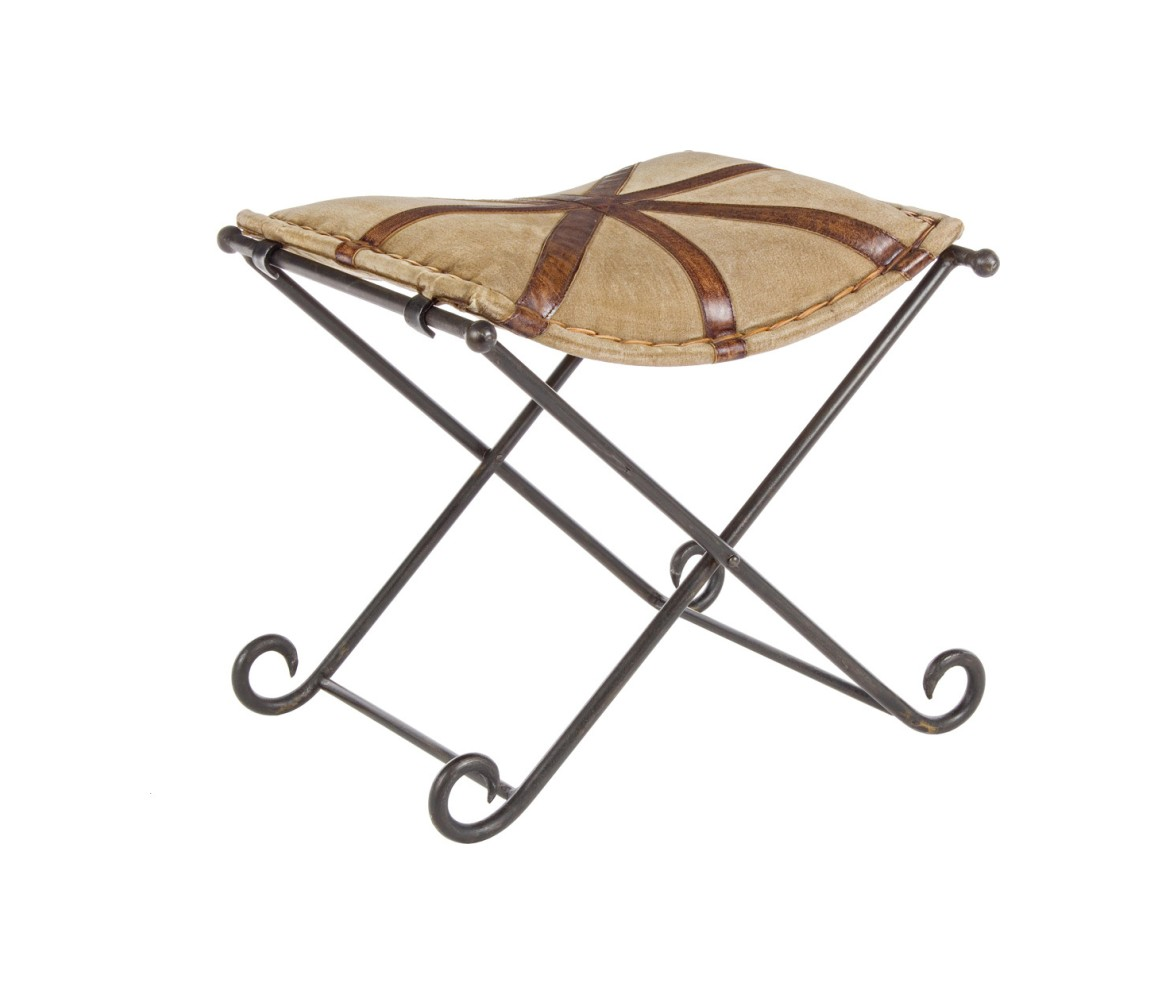 Photos 1: Bizzotto 0746068 Sanpark Cross Stool in metal and fabric