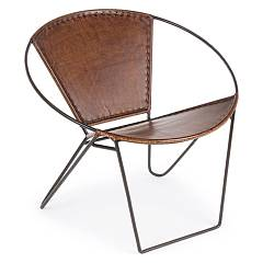 Bizzotto 0746069 Armchair in metal and leather Sanpark