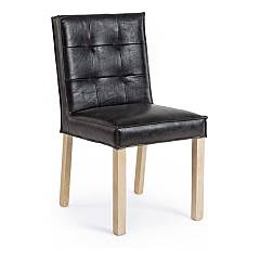 Bizzotto 0748040 Chair in wood and eco-leather - black Adele