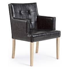 sale Bizzotto 0748041 - Adele Armchair In Wood And Leather - Black