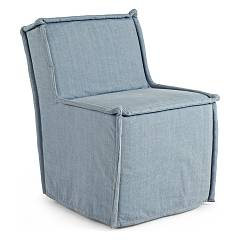 sale Bizzotto 0748044 - Dakota Upholstered Armchair In Fabric - Denim