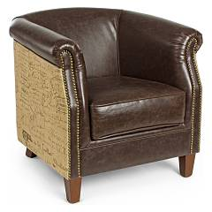 Bizzotto 0748050 - Camacho Armchair in wood and leather