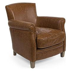 Bizzotto 0748057 - Nebraska Chair covered in eco-leather brown - vintage