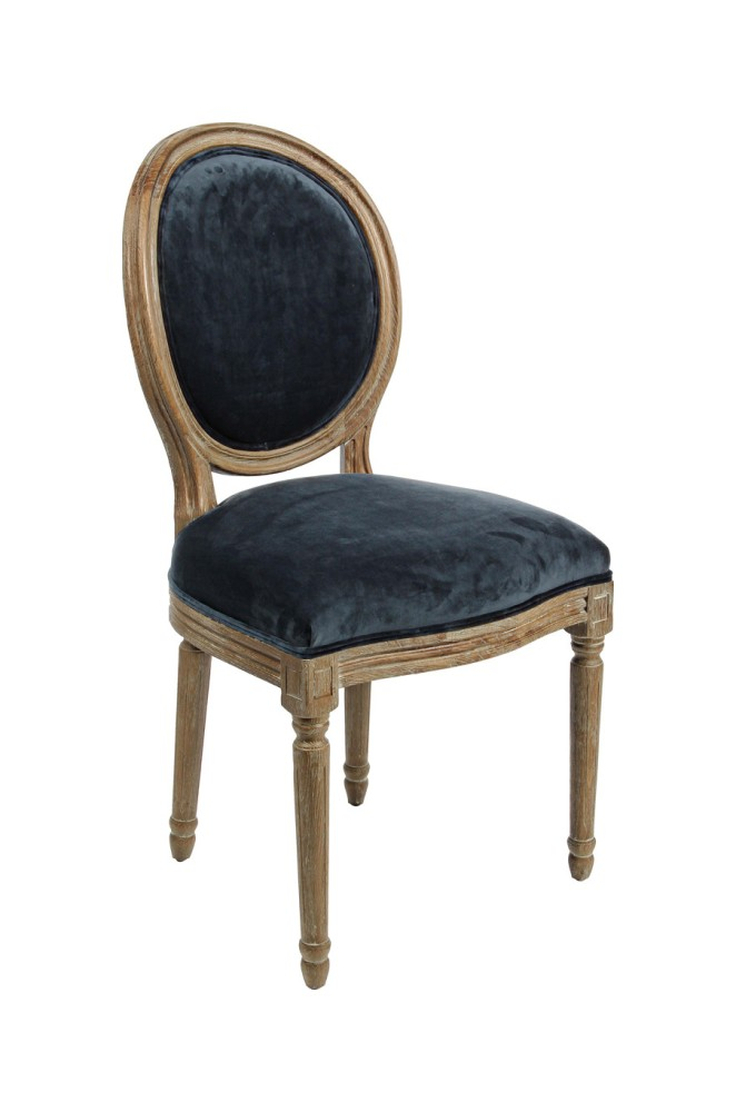 Photos 1: Bizzotto 0748063 Adrien Chair in wood and fabric - blue