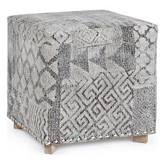 Bizzotto 0748081 Square pouf covered in fabric Vivienne