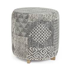 Bizzotto 0748082 Round pouf covered in fabric Vivienne