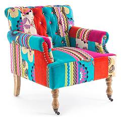 Bizzotto 0748108 - Faustin Armchair covered in fabric - patch