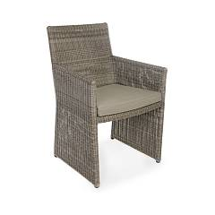 Bizzotto Homemotion 0660241 Armchair in metal and polyrattan - brown with cushion Abigail