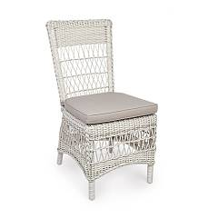 Bizzotto 0660278 Chair in metal and polyrattan - ancient white with cushion Jupiter