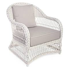 Bizzotto 0660283 Metal and polyrattan armchair - ancient white with cushions Kosmos