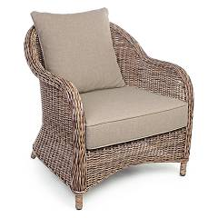 Bizzotto 0660320 Metal and polyrattan armchair with cushions Laisa