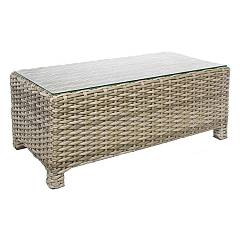 Bizzotto 0661261 Table in polyrattan and glass l. 101.6 x 50.8 Lesly