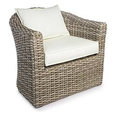 Bizzotto 0661283 Polyrattan armchair - natural with cushions Brandy