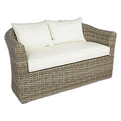 Bizzotto 0661284 Sofa in polyrattan - natural with cushions Brandy