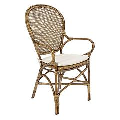 Bizzotto 0671439 Rattan armchair with cushion - honey Edelina