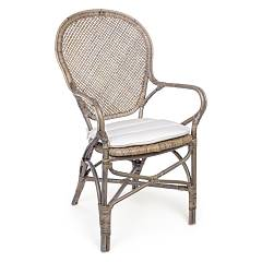 Bizzotto 0671465 Rattan armchair with cushion - natural Edelina