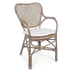 Bizzotto 0671466 Rattan armchair with cushion - natural Natalia