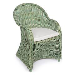 Bizzotto 0671654 Rattan armchair with pillow - green Martin