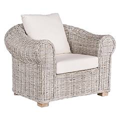 Bizzotto 0671660 Armchair in rattan and kubu with cushions Coba