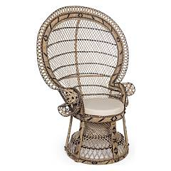 Bizzotto 0691603 - Pavone Armchair in rattan - natural with cushion
