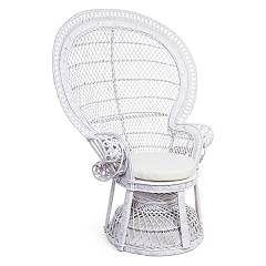 Bizzotto 0691604 Rattan armchair - white with cushion Pavone