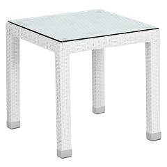 Bizzotto 3660058 Tabelle in polyrattan l. 45 x 45 - weiss Steps