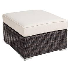 Bizzotto 3660112 - TWENTY Hocker in polyrattan - braun mit kissen