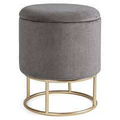 Bizzotto 0720333 Storage stool with metal frame and velvet seat Polina To