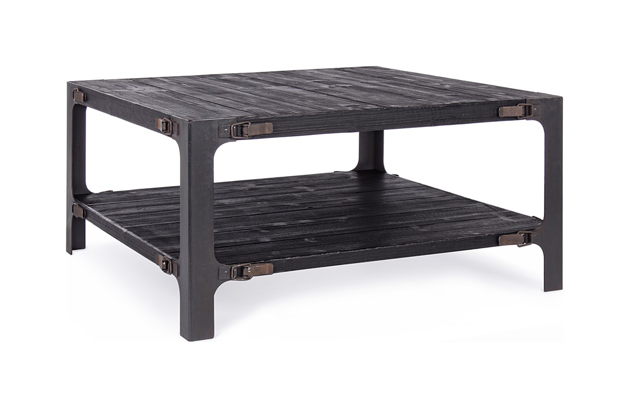 - Bizzotto 0740375 Darker Coffee Table L. 90 X 90 With Metal Frame