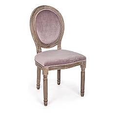 Bizzotto 0743490 Chair with wooden frame and seat upholstered in woodrose velvet Mathilde