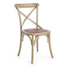 Bizzotto 0743654 Chair with structure in natural brown wood and seat in natural rattan Cross
