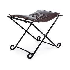 Bizzotto 0746346 Fixed stool with steel structure and real leather seat Anika