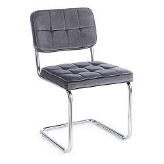 Bizzotto 0733090 Chair with cantilever metal structure and seat upholstered in gray velvet Iole