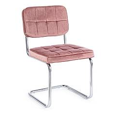 Bizzotto 0733093 Chair with cantilever metal structure and seat upholstered in pink velvet Iole