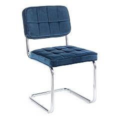 Bizzotto 0733094 Chair with cantilever metal structure and seat upholstered in blue velvet Iole