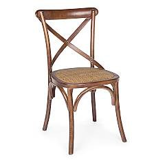 Bizzotto Cross Chair with structure in brown wood and seat in natural rattan