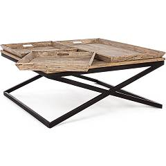 Bizzotto Tray Coffee table l. 120 x 120 with metal frame and wooden top