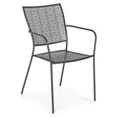 Bizzotto Wendy Stackable chair with armrests in matt dark gray painted steel