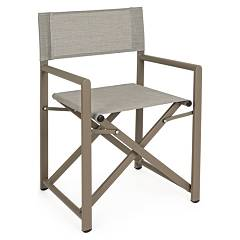 Bizzotto Taylor Folding aluminum chair seat and back in stone-colored plastic fabric