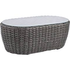 Bizzotto Homemotion Brady Fixed table l. 101 x 56 covered in gray polyrattan skin and top in tempered glass